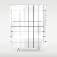 grid Shower Curtains featuring Grid by fneo