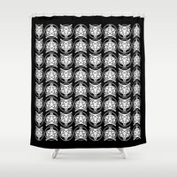 pentagram Shower Curtains featuring Pentagram Wolf by Mohrne