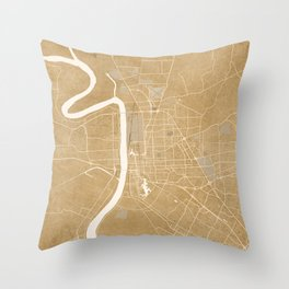 Vintage map of Baton Rouge Louisiana in sepia Throw Pillow