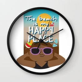 The beach is my happy place - Black skin Wall Clock