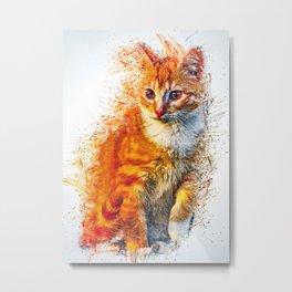 Cat Animal Illustration Metal Print