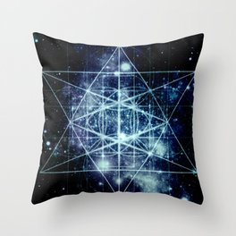 Galaxy Sacred Geometry Flower of Life Ocean Blue Throw Pillow