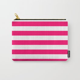 Bright Fluorescent Pink Neon and White Large Horizontal Cabana Tent Stripe Carry-All Pouch