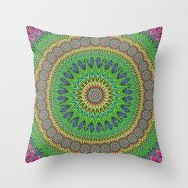 Spring star mandala Throw Pillow
