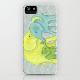Elephant Family of Three in Yellow, Blue and Green iPhone Case