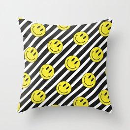 Smiley and Stripes Throw Pillow