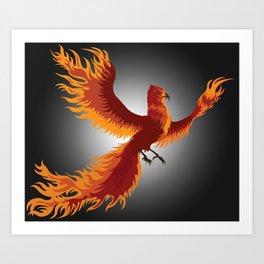 Phoenix Rising - Black Art Print