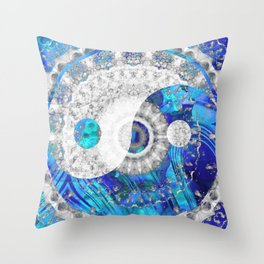 Blue And White Art - Yin And Yang Symbols - Sharon Cummings Throw Pillow