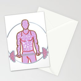 Personal Trainer Lifting Barbell Memphis Style Stationery Cards