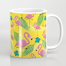 Pretty Flamingo on Yellow Background Coffee Mug