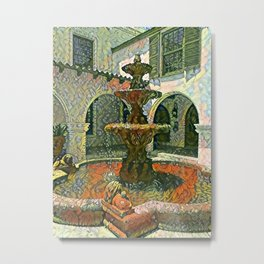 Fountain in St Augustine - Painted Metal Print