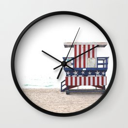 Scenes from Miami Beach Stars and Stripes Lifeguard Stand Wall Clock