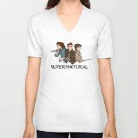 supernatural V-neck T-shirts featuring Supernatural by KewlZidane