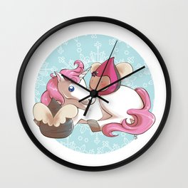 Poppettes with unicorn Wall Clock