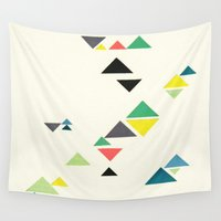 triangles Wall Tapestries featuring Triangles by Cassia Beck