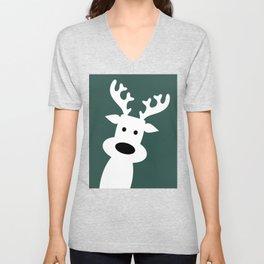 Reindeer on green background Unisex V-Neck
