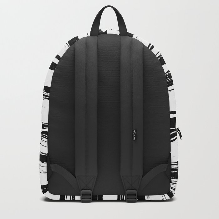 Stylish Black and White Paint Stripes Backpack