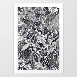 Silver and black floral Art Print