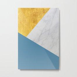 Carrara marble with gold and Pantone Niagara color Metal Print