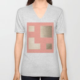 Simply Geometric White Gold Sands on Salmon Pink Unisex V-Neck