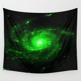 Spiral gAlaXy. Green Wall Tapestry