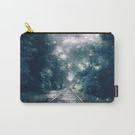 "Dream Train Tracks Teal : ""Next Stop, Anywhere"" Carry-All Pouch"