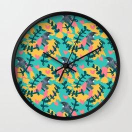 Blocky Tui Heart Print Wall Clock