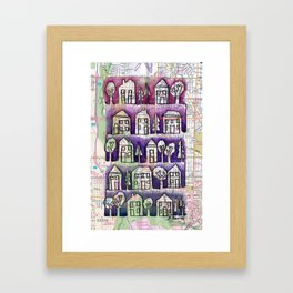 Wauwatosa, WI and Milwaukee Neighborhood Continuous Line Drawing on vintage map Framed Art Print