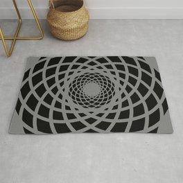 Circle rectangles round pattern Design grey Rug