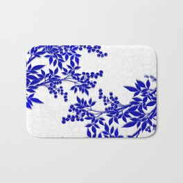 BLUE AND WHITE  TOILE LEAF Bath Mat