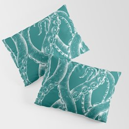 White Funky Tentacles Octopus Ink Teal Art Pillow Sham