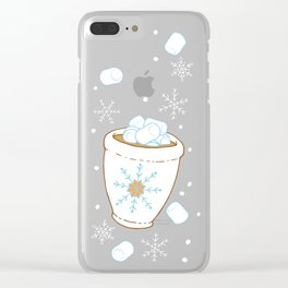 Snowing Marshmallows Clear iPhone Case