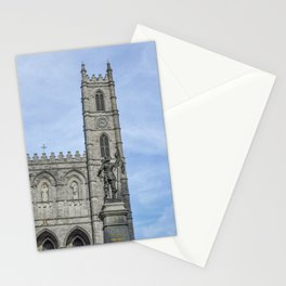 Maisonneuve statue facing Basilica Notre Dame, Montreal's Old Port district Stationery Cards