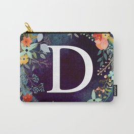 Personalized Monogram Initial Letter D Floral Wreath Artwork Carry-All Pouch