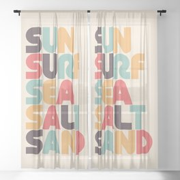 Retro Sun Surf Sea Salt Sand Typography Sheer Curtain