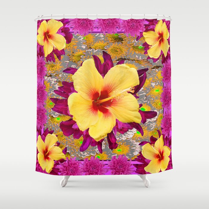 Decorative Golden Yellow Red Tropical Hibiscus Patterns Shower Curtain