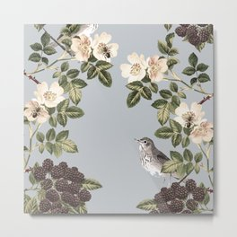 Birds and the Bees Gray Metal Print