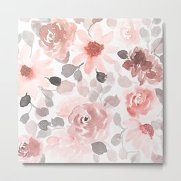 Floral Prints, Pink, Floral Abstract Watercolor Print Metal Print