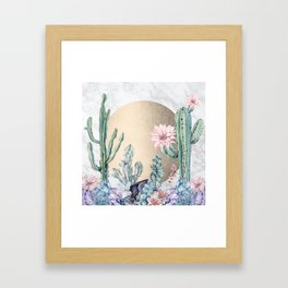 Desert Sun + Gemstones Gold Marble Framed Art Print
