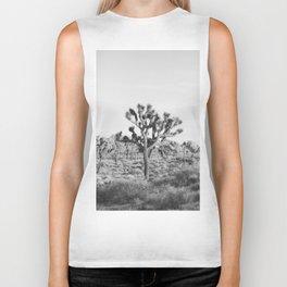 Large Joshua Tree in Black and White Biker Tank