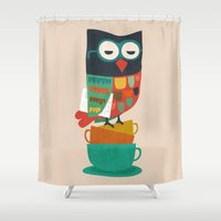 newspaper Shower Curtains featuring Morning Owl by Picomodi