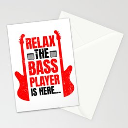 Relax The Bass Player Is Here | Music Instrument Stationery Cards