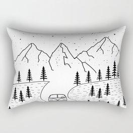 Minimal Camping Rv Hippie Van Camper Mountain Wild Outdoor Rectangular Pillow