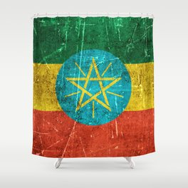 Vintage Aged and Scratched Ethiopian Flag Shower Curtain