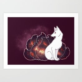 Nine Tails of Space Clouds - Galaxy Kitsune Art Print