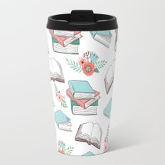 Books & Flowers Print Travel Mug