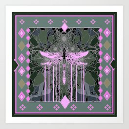 Violet Ethereal Dragonfly Grey Abstract Art Print
