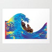 hokusai Art Prints featuring Hokusai Rainbow & Moai by FACTORIE