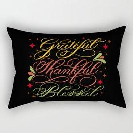 Grateful, Thankful, Blessed Design on Black Rectangular Pillow