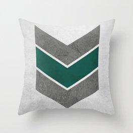 Stone Chevrons Green Throw Pillow